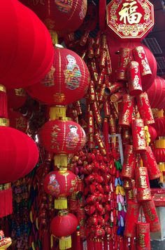 #colourful #newyear #goodluck    Chinese New Year supplies in a small street shop - Shanghai, China