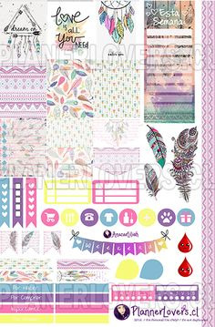 Free Printable Tribal Rainbow Planner Stickers