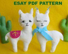 Llama felt ornament PDF Pattern Felt Llama Sewing Pattern Llama Kawaii Llama Baby Mobile Pattern Alpaca Plush Toy Pattern Nursery decor