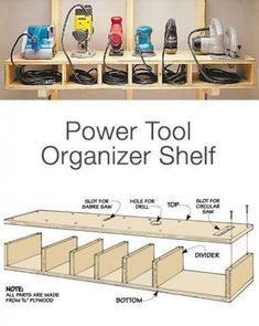 Garage Storage on a Budget - Power Tool Organizer Shelf Want more storage? Than try these DIY garage storage ideas! Get your garage organization done this weekend! Diy Garage Storage, Shed Storage, Storage Ideas, Budget Storage, Kitchen Storage, Wall Storage, Craft Storage, Storage Rack, Diy Shelving