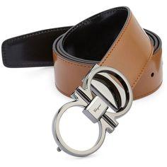 Salvatore Ferragamo Double Gancini Leather Belt ($360) ❤ liked on Polyvore featuring men's fashion, men's accessories, men's belts, mens belts, mens leather accessories, mens genuine leather belts, mens real leather belts and salvatore ferragamo mens belt