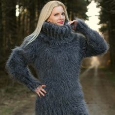 Fuzzy 100% hand knitted mohair sweater dress in bluish gray graphite, size S, M, L, XL