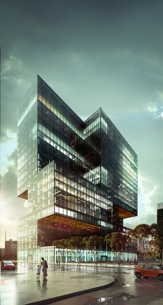 Exterior by xoio Architecture Visualization, Commercial Architecture, Architecture Portfolio, Facade Architecture, Contemporary Architecture, Healthcare Architecture, Future Buildings, Modern Buildings, Beautiful Buildings