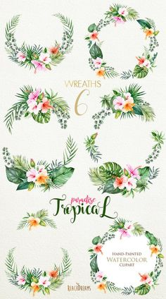 Tropical Watercolor Flowers & Leaves Tropic by ReachDreams Art Floral, Motif Floral, Tropical Flowers, Orange Flowers, Lilies Flowers, Exotic Flowers, Flowers Garden, Yellow Roses, Pink Roses