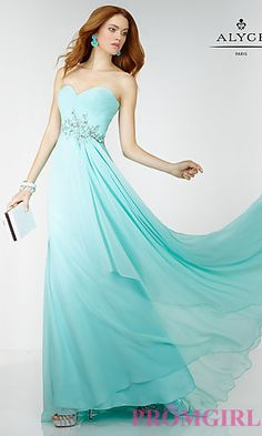 Long Empire Waist Strapless Prom Dress by Alyce at PromGirl.com