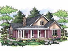 ADD BIG LAUNDRY ROOM ON PORCH THEN SCREEN IN ENTIRE PORCH AREA Farmhouse Style 1 story 3 bedrooms(s) House Plan with 1811 total square feet and 2 Full Bathroom(s) from Dream Home Source House Plans
