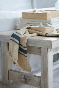 Serviette au tricot façon torchon en lin                                                                                                                                                                                 Plus
