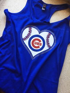 9bb3bfdce Chicago Cubs Rhinestone Glitter Bling RacerBack Tank Top - Juniors by  MasterPeaceDesigns on Etsy https