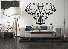 Wall Vinyl Sticker Decals Mural Room Design Bedroom  muscle man bodybuilding gym weight power lift  bo2850 by RoomDecalsAndDesigns on Etsy