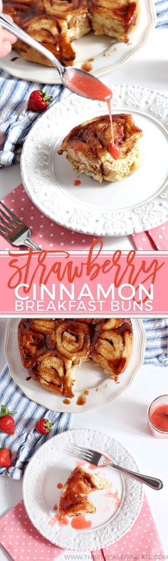 Strawberry Cinnamon Breakfast Buns are the perfect baked good for Mother's Day! This dairy-free adaptation of a classic cinnamon roll takes on seasonal flavors with the addition of fresh strawberries. The slightly sweet vanilla dough is made and rises before chopped strawberries are added to the filling before being rolled. The dough rises, then bakes until golden brown. This treat is drizzled with a strawberry glaze as a final touch. Serve these buns up with a mimosa, and brunch is served!