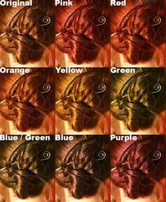 Illustrates what each Kool-aid color will look like when used to dye brown hair.