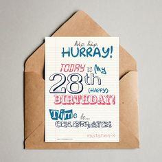 Originele verjaardagskaart typografie met kraftenvelop