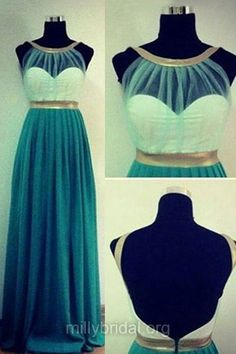 Backless Prom Dresses, Long Prom Dresses, A Line Formal Dresses, Green Evening Party Gowns