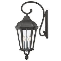 Morgan Textured Black Three-Light Outdoor Wall Lantern
