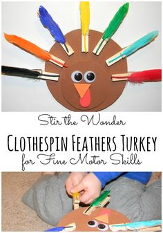 Clothespin Feathers Turkey- This would be great in a Thanksgiving center!