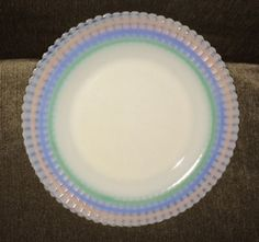 "Lot of 2 Vintage MacBeth Evans Petalware Pastel Bands Opalescent 9"" plates"
