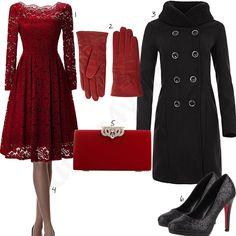 Rot-Schwarzes Damenoutfit mit Kleid, Clutch und Pumps (w0867) #elegant #pumps #clutch #handschuhe #outfit #style #fashion #womensfashion #womensstyle #womenswear #clothing #frauenmode #damenmode #handtasche  #inspiration #frauenoutfit #damenoutfit