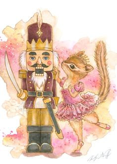 Items similar to Original Art - The Nutcracker with Chipmunk Ballerina - Free US Shipping - Ink & Watercolor Fantasy Illustration 5 x 7 by Mitzi Sato-Wiuff on Etsy Fantasy Illustration, Christmas Illustration, Christmas Drawing, Christmas Art, Diy Xmas, Nutcracker Christmas, Nutcracker Sweet, Pintura Country, Holiday Greeting Cards