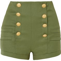 Pierre Balmain Grain de poudre wool shorts (2.860 RON) ❤ liked on Polyvore featuring shorts, bottoms, pants, short, olive shorts, highwaist shorts, high-waisted shorts, high rise shorts and pierre balmain