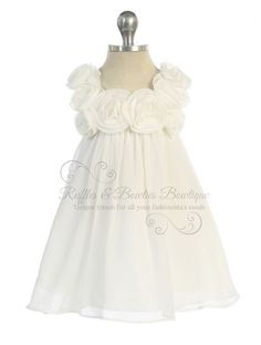 RB - Cream Chiffon Baby Doll Dress with Rose Buds