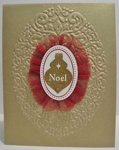 Jonia created this awesome card using the Holiday Frame embossing folder and Joyous Celebrations. Love the Brushed Gold card stock and the gold embossed ornament!