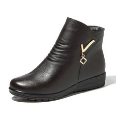Boots Women Winter Leather Keep Warm Plush Flat Ankle Boots - US$35.59   #women  #shoes #fashion