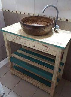 combo vanitory de madera + bacha rustica circular a tu color Rustic Bathroom Vanities, Rustic Bathrooms, My Furniture, Vintage Furniture, Farmhouse Vanity, Freestanding Kitchen, My Ideal Home, Pallet Designs, Laundry Room Design