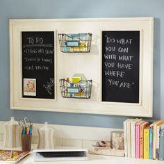 PB Teen Vintage Chalkboard Organizer-for entryway. Could DIY!
