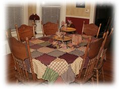 Primitive Ragged Homespun Patchwork Tablecloth 1