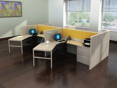 """These refurbished Haworth office cubicles are a  nice set-up to allow folks to not have their backs facing the aisle & give a maximum amount of work surface for paperwork, computer, etc.  You have a 24"""" panel dividing your space from your neighbor allowing for some privacy & still encouraging collaboration."""