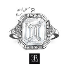 Sketch study for Emerald cut diamond ring. The halo setting is here re-imagined using a combination of trapeze cuts and round brilliants. This could be fashioned in a variety of carat weights. Do you have any unwanted gold or jewellery? our master jewellers can re-craft them into something beautiful. Australia's Finest. #charlesrose #ring #design #handmade