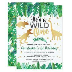 Wild One Dinosaur Boys 1st Birthday Invitation Dinosaur Birthday Invitations, Dinosaur Birthday Party, Birthday Invitation Templates, Boy First Birthday, 4th Birthday Parties, Boys 2nd Birthday Party Ideas, 4th Birthday Party For Boys, Elmo Party, Twin Birthday