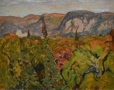 J.E.H. MacDonald - Agawa Valley Algoma 8.375 x10.375 Oil on paperboard (1920) Oil, Painting, Painting Art, Paintings, Painted Canvas, Drawings, Butter