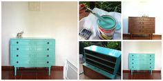 Turquoise decoration. Old Furniture. The Perfect Vintage Paint Color. From Oliveira Salazar to French Provincial;  From Boring Brown to Turquoise Fun;From Shabby-Antique to Shabby-Chic