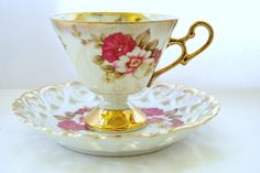 Footed Tea Cup and Reticulated Saucer in Porcelain Lusterware Tea set   - pinned by pin4etsy.com
