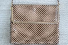 "Vintage 1940's Cocoa Tan Taupe Metal Mesh Handbag Clutch Purse by ""Studio Imports"" by GuysandDollsFashion on Etsy"