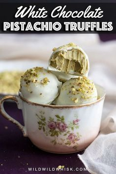White Chocolate Pistachio Truffles, made with homemade Pistachio Butter, are the creamiest and most delicious chocolate truffles you will ever taste, perfect for gifting during the holidays. Candy Recipes, Sweet Recipes, Baking Recipes, Köstliche Desserts, Delicious Desserts, Plated Desserts, Dessert Recipes, Delicious Chocolate, Chocolate Recipes