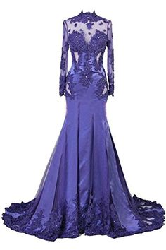 Ikerenwedding Women s Lace Applique Mermaid Prom Dress Long Sleeve Party Gowns  Purple US16 Ikerenwedding http  6af707334a02