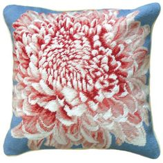 123 Creations Chrysanthemum 100% Wool Needlepoint Pillow