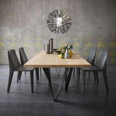 Table design extensible en métal et bois - Wave - 1
