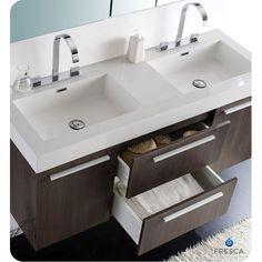 "Fresca Senza 54"" Double Opulento Modern Bathroom Vanity Set | AllModern"