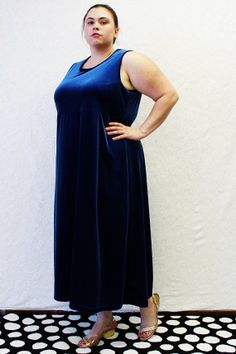 Plus Size - Vintage Blue Stretch Velvet Empire Waist Sleeveless Maxi Dress  by TheCurvyElle, $40.00