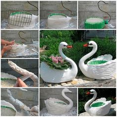 Recycle  big plastic bottles and transform them into amazing swan pot planters.   Check instructions ---> http://wonderfuldiy.com/wonderful-diy-swan-pot-planter-out-of-plastic-bottles/