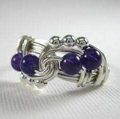 Alambre envuelto anillo amatista y plata Trinidad