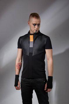 Cyberpunk shirt sci-fi shirt alternative clothing futuristic black cyber shirt mens t-shirt - CNS Moda Cyberpunk, Cyberpunk Clothes, Cyberpunk Fashion, Fashion Male, Mens Fashion, Fashion Menswear, Gothic Fashion, Steampunk Fashion, Fashion Trends