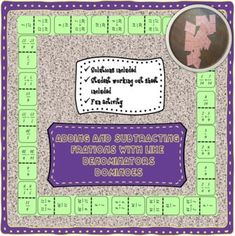 Adding and subtracting fractions with like denominators dominos. Fun activity for students to practice adding and subtracting fractions. Adding And Subtracting Fractions, Test Prep, Homework, Fun Activities, Worksheets, Students, Ads, Teaching, Number