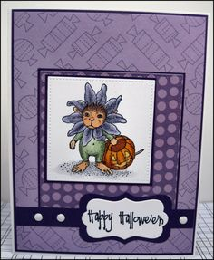 Mouse Halloween Card / Happy Halloween / Greeting Card / Halloween Greeting Card / Flower Halloween Card