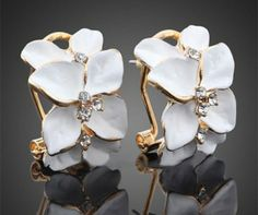 'Crystal Gardenia Yellow GP Earrings' is going up for auction at  6am Sun, Apr 27 with a starting bid of $1.