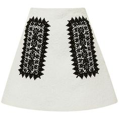 Clothing A Line Skirt With Geometric Embroidery (3.685 RON) ❤ liked on Polyvore featuring skirts, mini skirts, bottoms, white a line skirt, geometric skirt, short a line skirt, white embroidered skirt and embroidered skirt