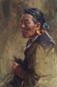 Scott Burdick - Tibetan Grandmother, oil on canvas, 24 x 16 inches